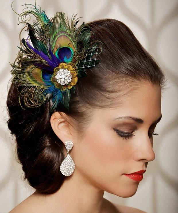Royal Blue Peacock Hair Clip Bridal Head Piece Peacock Feather Fascinator