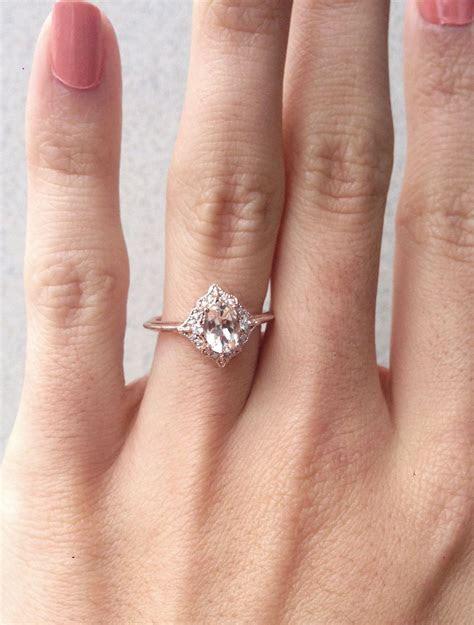 Morganite Engagement Ring, Oval Morganite Diamond Ring