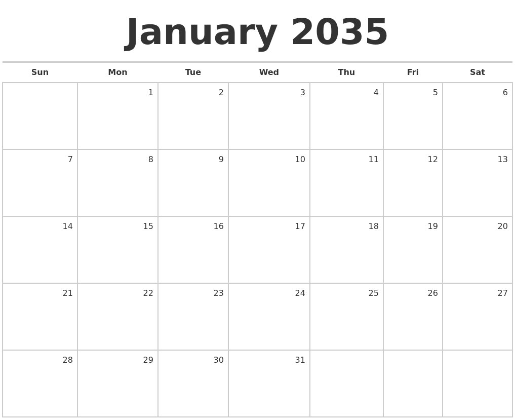 january 2035 blank monthly calendar