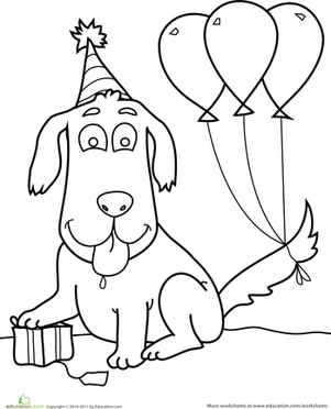 Birthday Dog | Coloring Page | Education.com
