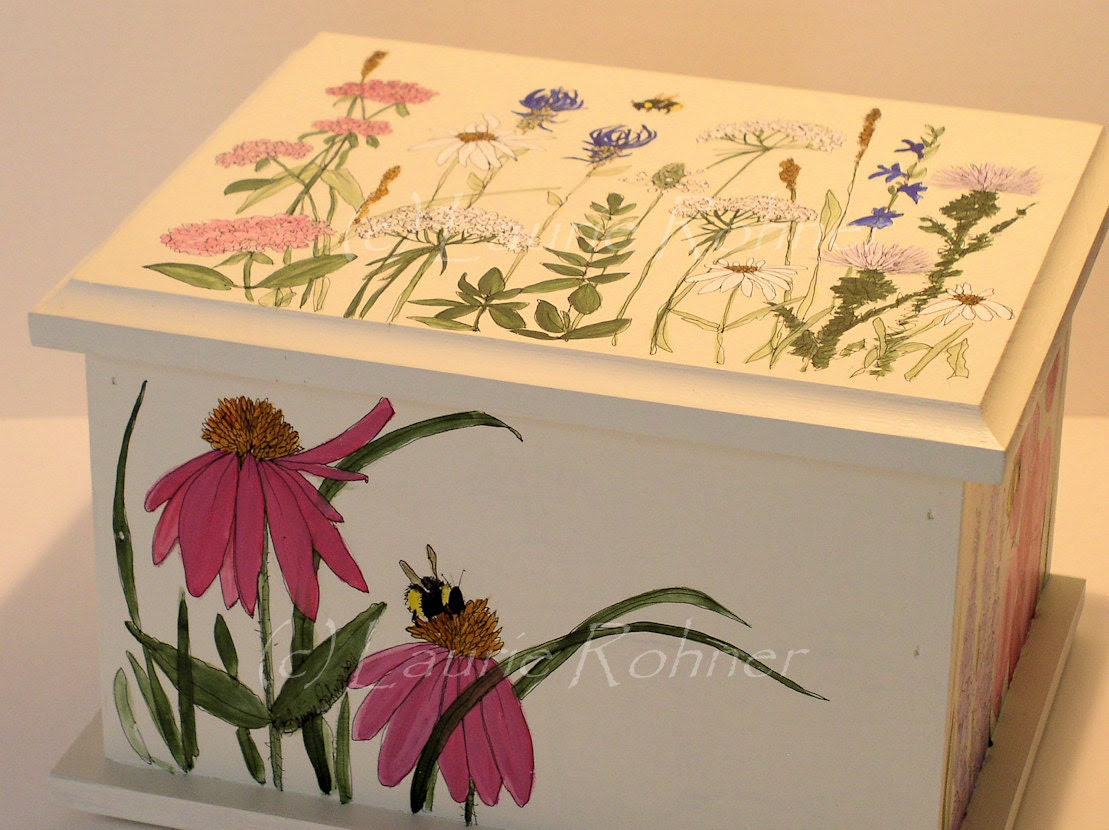 Painted Furniture Contemporary Painted Keepsake Box Wood with detailed Flowers Illustration