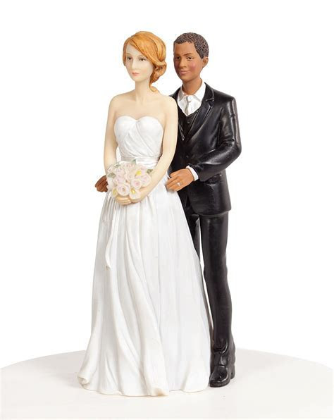 Chic Interracial Wedding Cake Topper   Caucasian Bride