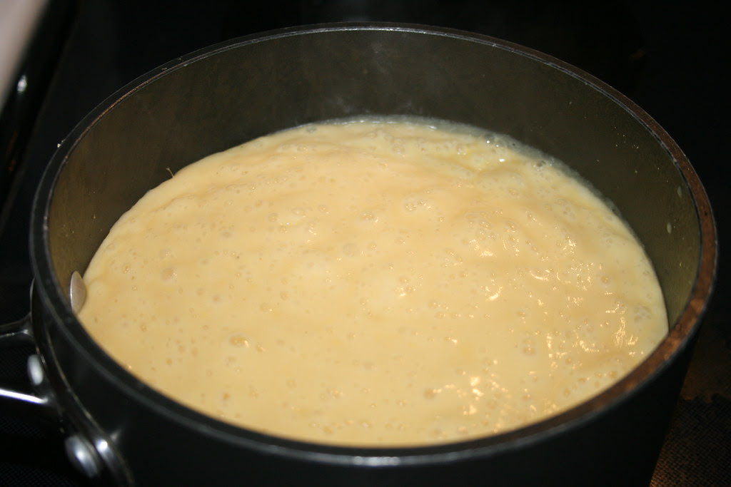 Cauliflower, Potato and Sunchoke soup on stove