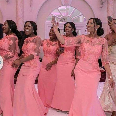 Elegant Coral Long Bridesmaid Dress 3/4 Sleeves Nigerian