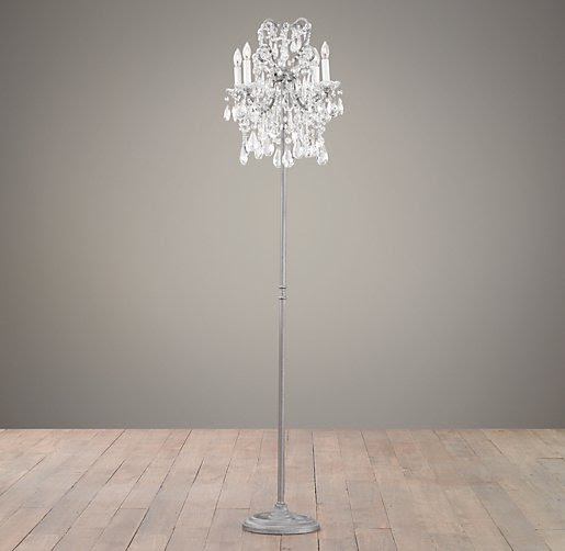 Manor Court Crystal 4-Arm Floor Lamp Aged Pewter | Floor ...