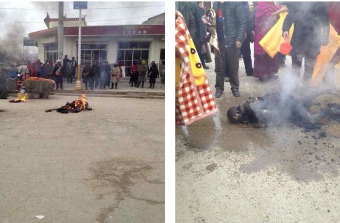 Photos of Tsultrim Gyatso after setting himself on fire in Achok town in Sangchu county in Kanlho in northeastern Tibet on 19 Dec. 2013/Tibet Times