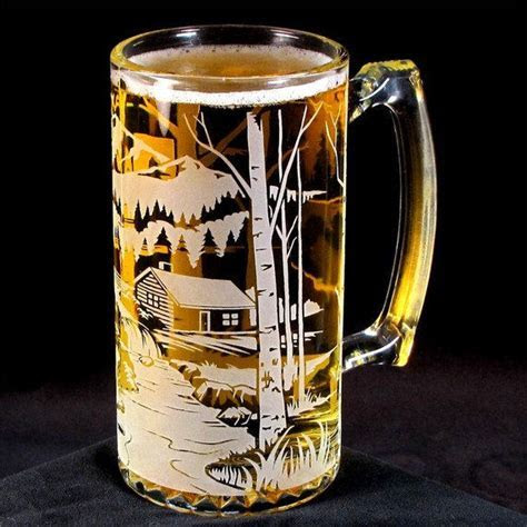 Etched Glass Beer Mug, Bear Mountain, Groomsmen Gifts for