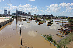 Nashville, Tennessee suffered extensive flooding, especially in areas close to the Cumberland River, Mill Creek, and Harpeth River.