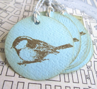 Vintage Chickadee Gift Tag for Party Favor in Blue