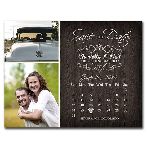 Rustic Calendar Save The Date postcard   The Print Cafe