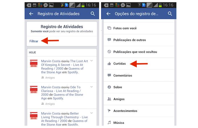 Utilizando o filtro do Registro de Atividades para encontrar curtidas em publicações do Facebook pelo Android (Foto: Reprodução/Marvin Costa)