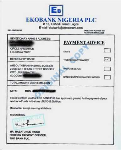 Bogus Payment Advice - Nigeria