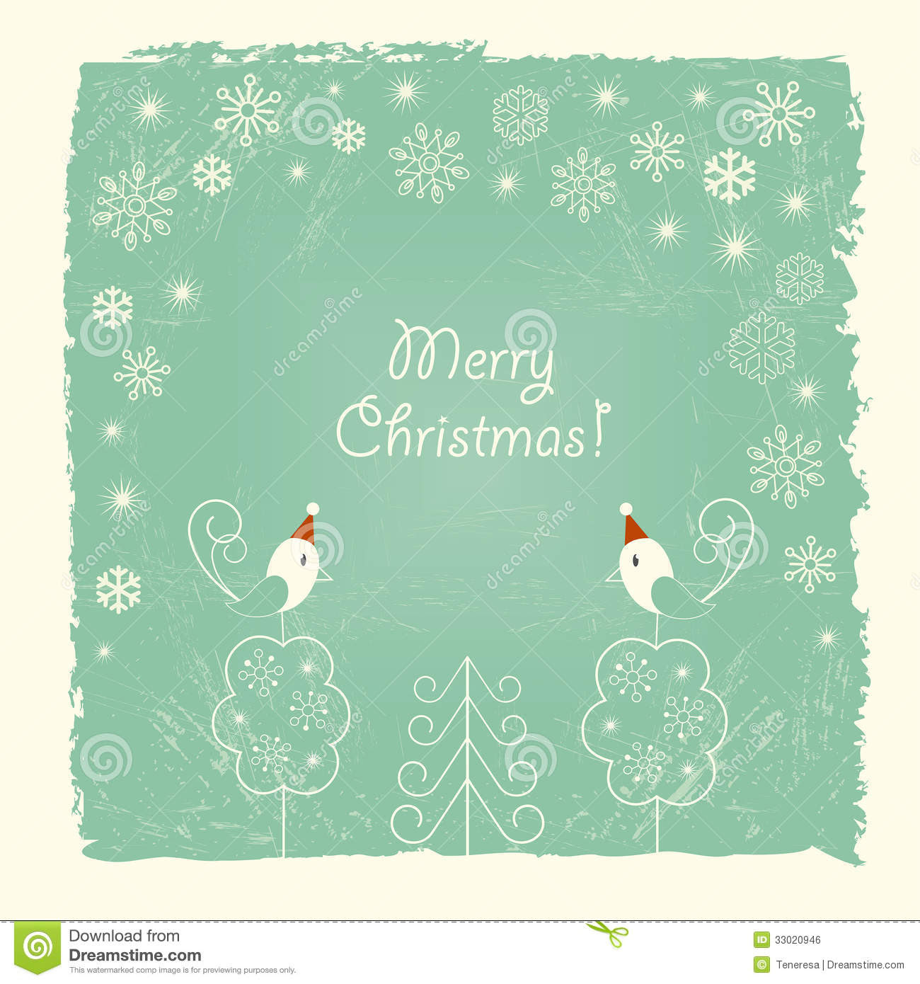 Retro Christmas Card With Snowflakes And Birds Royalty Free Stock ...