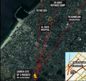An IDF diagram showing how four rockets from Gaza hit the sea, Israel, Shati and Al Shifa Hospital. Photo: IDF.