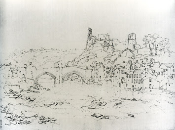 Barnard Castle And Bridge, from Downstream drawing by Joseph Mallord William Turner, 1797