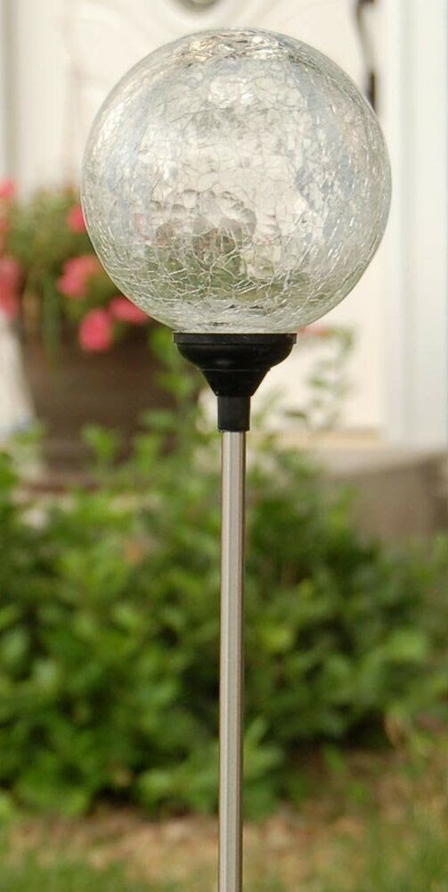 Solar 3.5quot; Clear Ball,7 color changing Crackle Glass Globe garden Lawn LED Light eBay