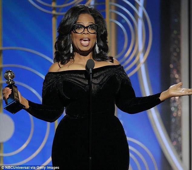 """Os fãs de Oprah Winfrey elogiaram o discurso de Globos de Ouro aceitando o prêmio Cecil B DeMille, chamando """"um dos maiores discursos americanos"""" e até mesmo dobrando o futuro presidente"""