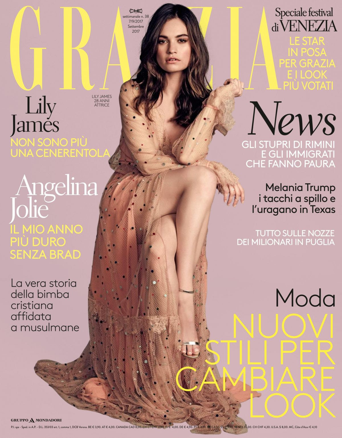 LILY JAMES in Grazia Magazine, Italy September 2917