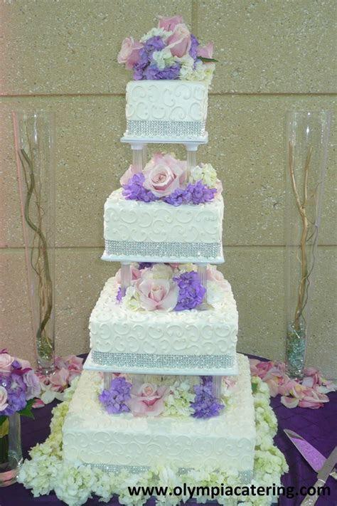 Square Wedding Cake, White Swirls. Rhinestones, Fresh