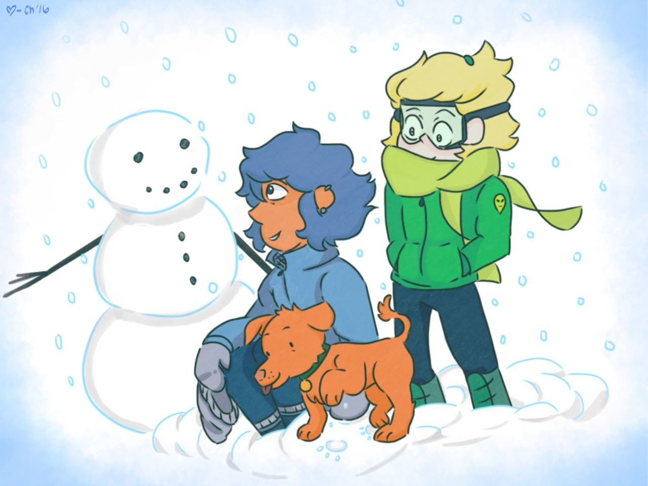 ❄️HAPPY HOLIDAYS! Have some good ol' human au to warm your frozen heart for the season! Feat. Pumpkin the pupper! 💧💚🎃❄️
