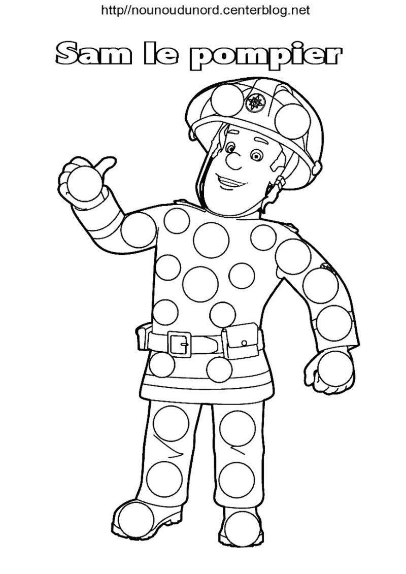 Sam Le Pompier Coloriage Pour Les Gommettes