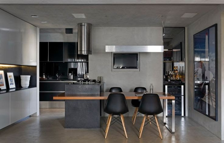 Contemporary Loft Finds The Perfect Balance Between Cool And Elegant The Eames Plastic Side Chairs here featured with a black seat are the perfect choice for the dining table extension. They have a simple and classical design and integrate perfectly in the décor.