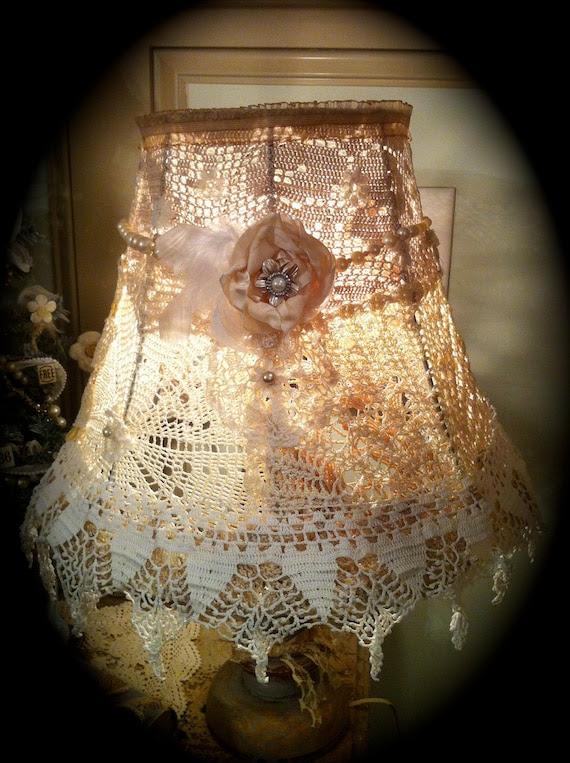 shabby chic crochet lampshade doily lamp shade- GORGEOUS ELEGANCE