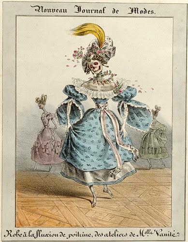 Robe a la fluxion de poitrine, des ateliers de Mademoiselle Vanite (C Philipon - Nouveau Journal de Modes)