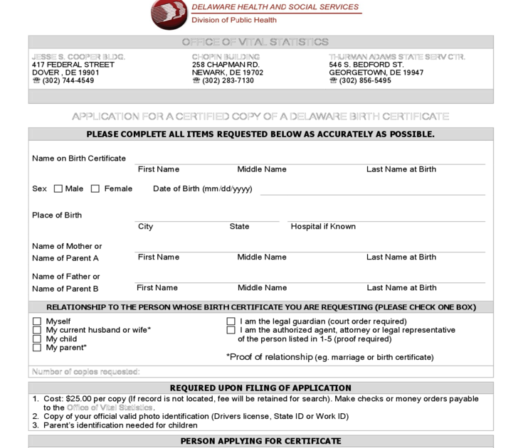 New Application For Birth Certificate In Delaware