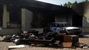 Damage at the US consulate in Benghazi. 13 Sept 2012