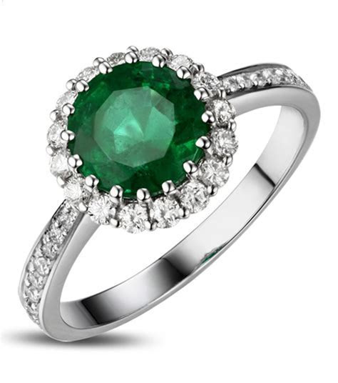 1 Carat Emerald and Diamond Halo Engagement Ring in White
