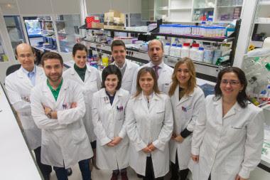 <p>Silve Vicent (centro) junto con su equipo del CIMA y de la Clínica Universidad de Navarra. / Manuel Castells</p>