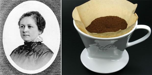 Filtro de café foi inventado em 1908 pela alemã Amalie Auguste Melitta Bentz (Foto: Wikimedia Commons)