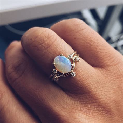 Australian Opal Ring with Diamonds in 2019   Body Bling