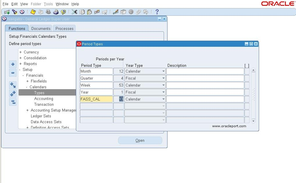 how to defining accounting calendar on general ledger Oracle Fusion Oracle 11I User Guide