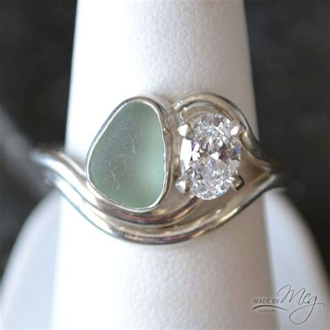The Adriatic #7   Sea Glass Engagement Ring   Ring ideas