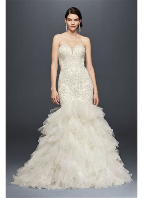 Embellished Mermaid Wedding Dress with Tulle Skirt   David