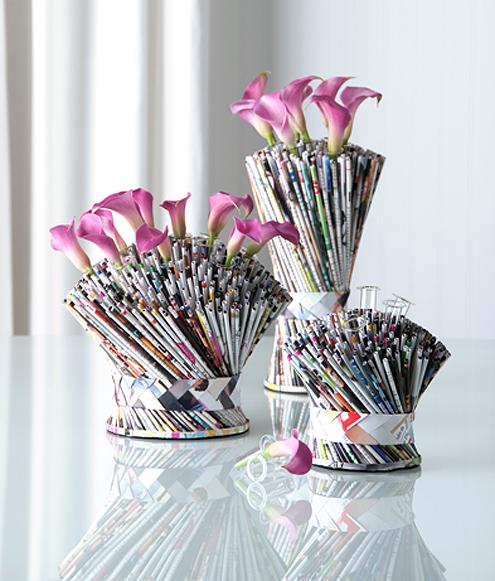 Simple Centerpiece: Recycled Paper Bouquet Vase