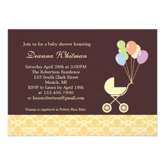 Yellow Stroller with Balloons Baby Shower Custom Invite