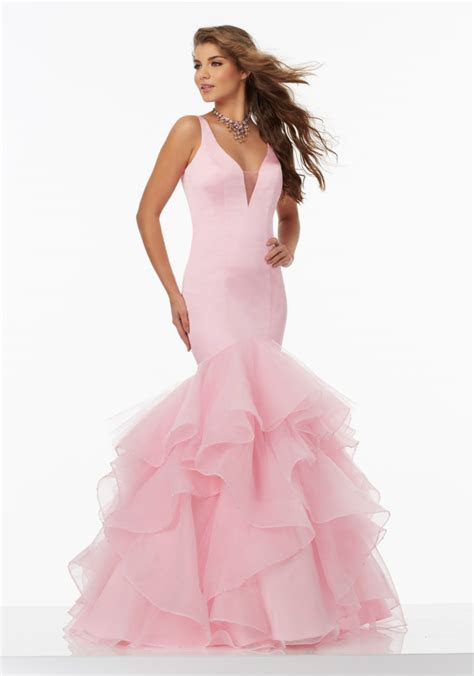 Satin Mermaid Prom Dress with Illusion Neckline   Style
