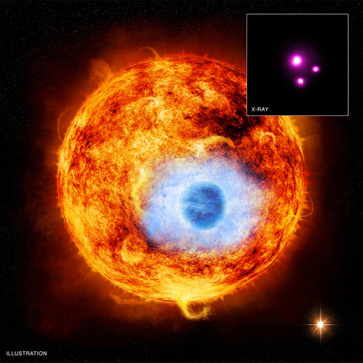 This graphic depicts HD 189733b, the first exoplanet caught passing in front of its parent star in X-rays. Credit: X-ray: NASA/CXC/SAO/K.Poppenhaeger et al; Illustration: NASA/CXC/M.Weiss.