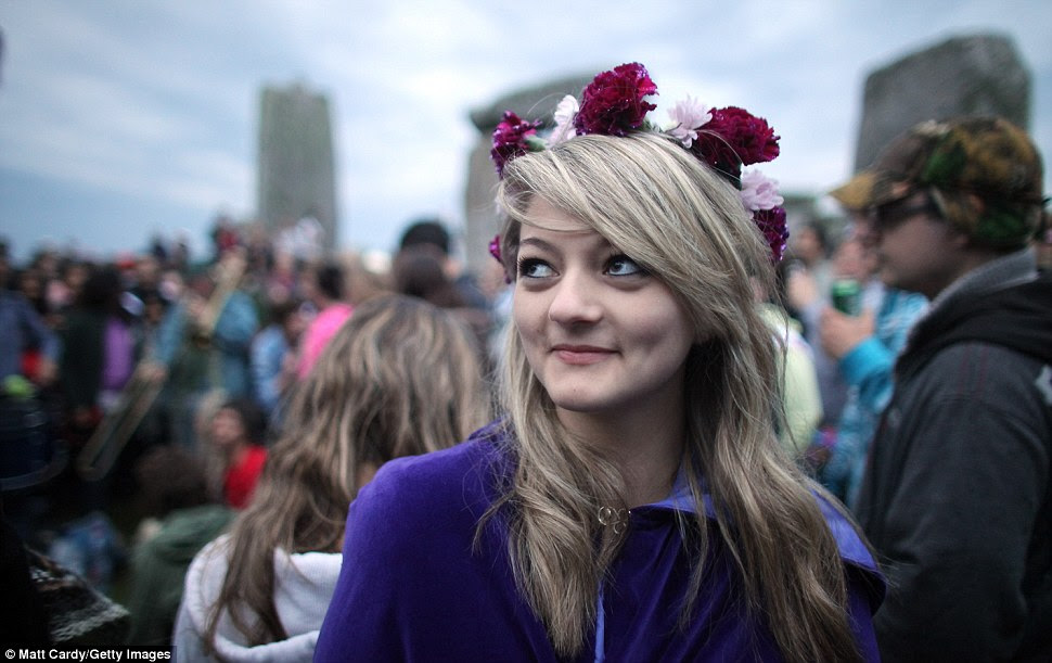 Sunseeker: Georgina Kernnard took part in summer solstice celebrations at Stonehenge