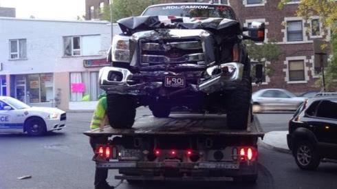 Le véhicule accidenté dans lequel se trouvait Zack Kassian