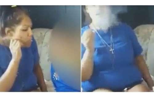 Mulher é presa após soprar fumaça de maconha na boca de criança. Veja o vídeo!
