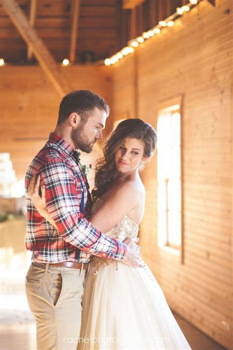 A Rustic, Winter Wedding   Love the flannel shirt for the