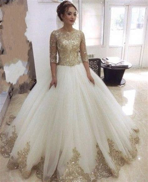 Gorgeous Gold Lace appliques wedding dresses with half