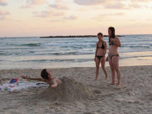 Having fun, buried in sand