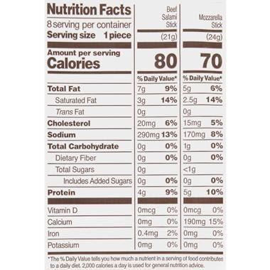 33 Mozzarella Cheese Nutrition Label