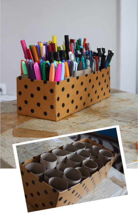 DIY project du jour: Shoe box + toilet paper tubes (and/or paper towel tube pieces)= storage for pens and other office/art supplies (via Aunt Peaches) More paper tube repurposing ideas:here.