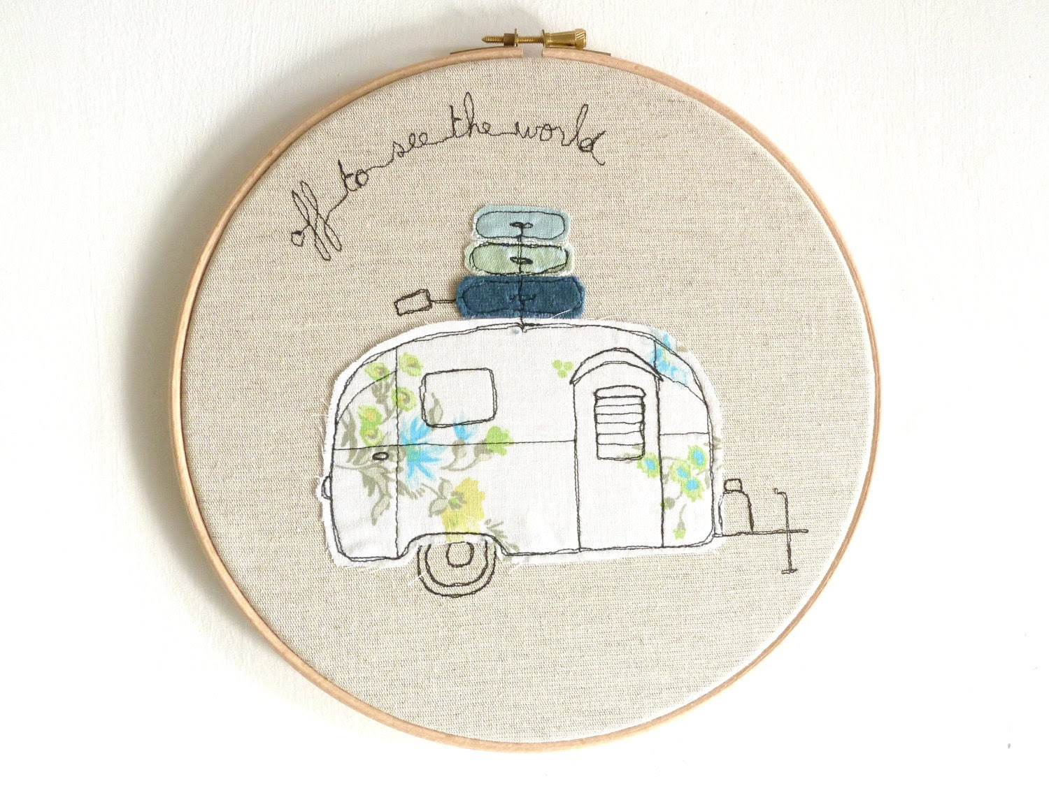 "Embroidered Hoop Art - Airstream Bambi Textile Artwork in blue and green - Large 10"" hoop"
